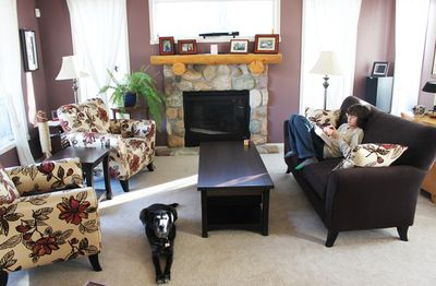 The furniture, and a kid, and a dog