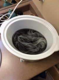 The yarn turned a light grey almost immediately