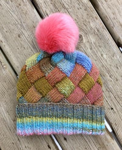 Entrelac hat cuffed