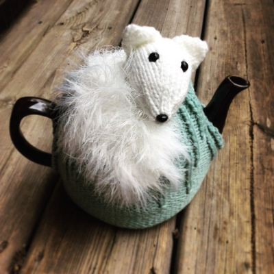 Arctic fox tea cozy