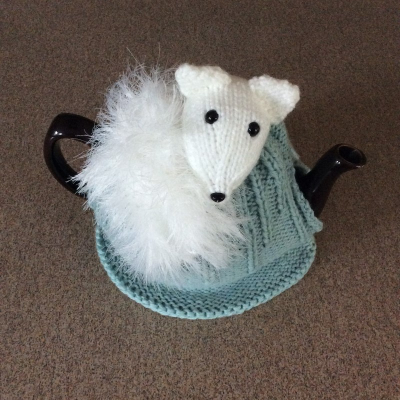 Arctic fox tea cozy untucked