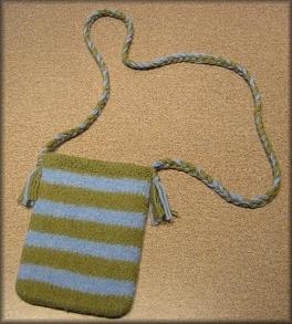 Green & Blue Striped Purse
