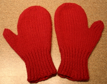Red, lightly felted mitts