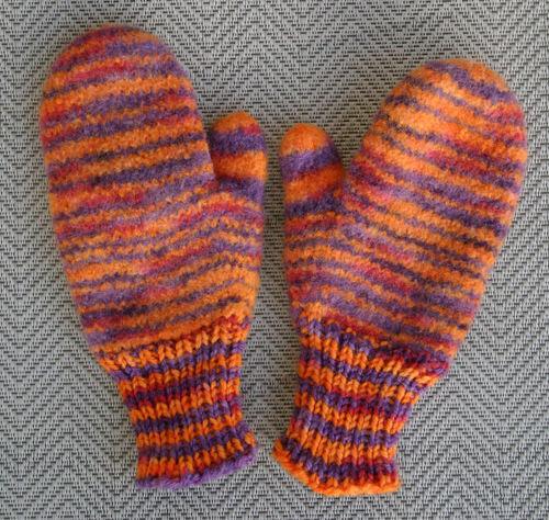 Orange & Purple Tiger Mittens