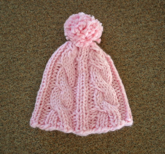 Pink cabled Preemie Hat