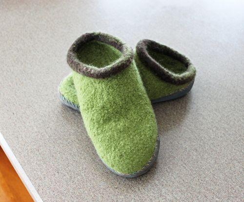 Green Felted Slippers