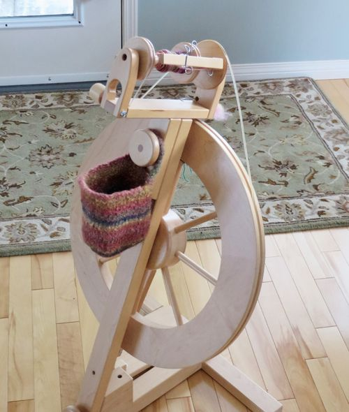 Felted spinning wheel bag